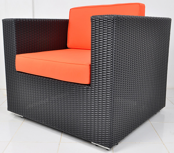 wicker sofa with red upholstery
