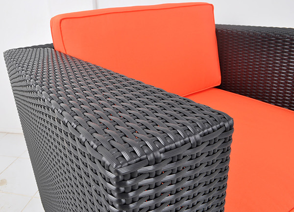 quality German wicker sofa with red upholstery