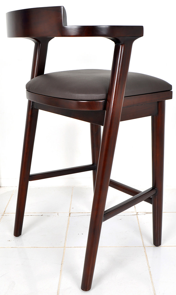 Indoor Scandinavian bar chair with leather seat