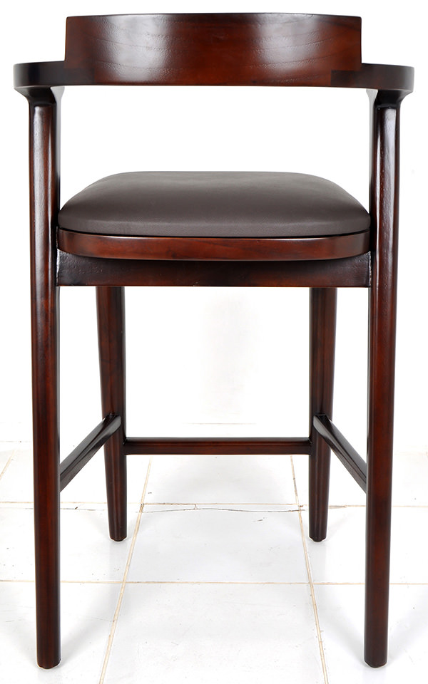 Indoor Scandinavian bar chair with leather seat and teak frame