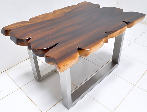 monkey pod table with a natural finish