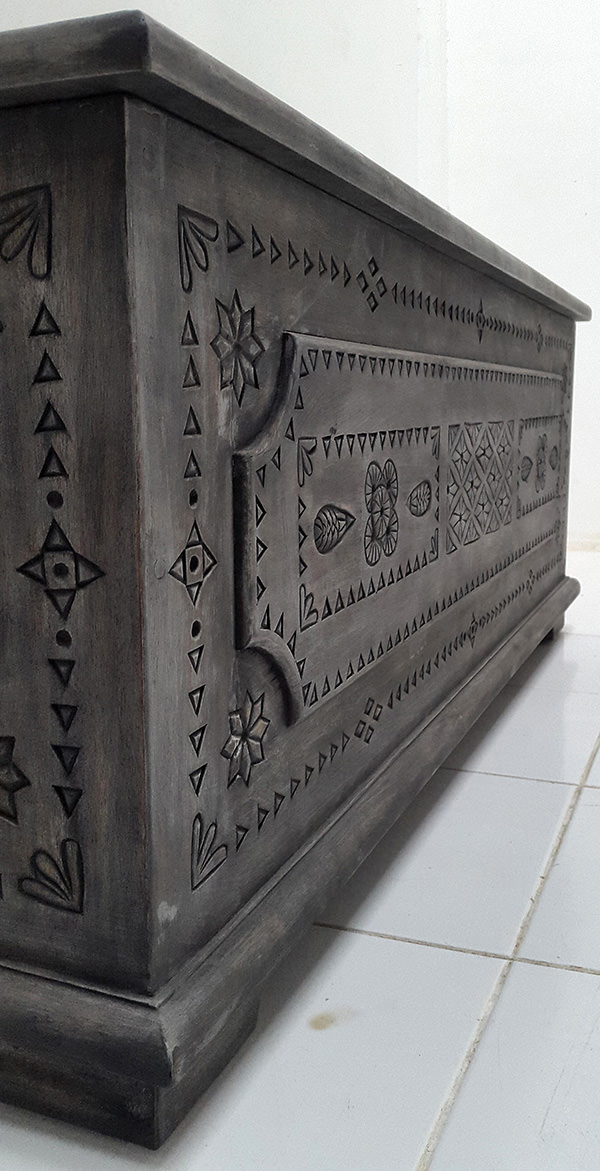 trunk with ethnic carvings
