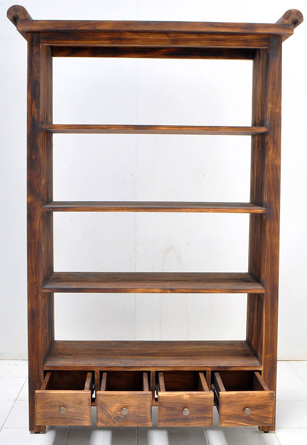 teak book rack with 4 drawers