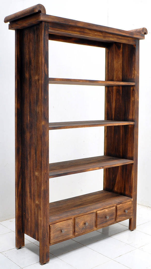 teak indoor book rack