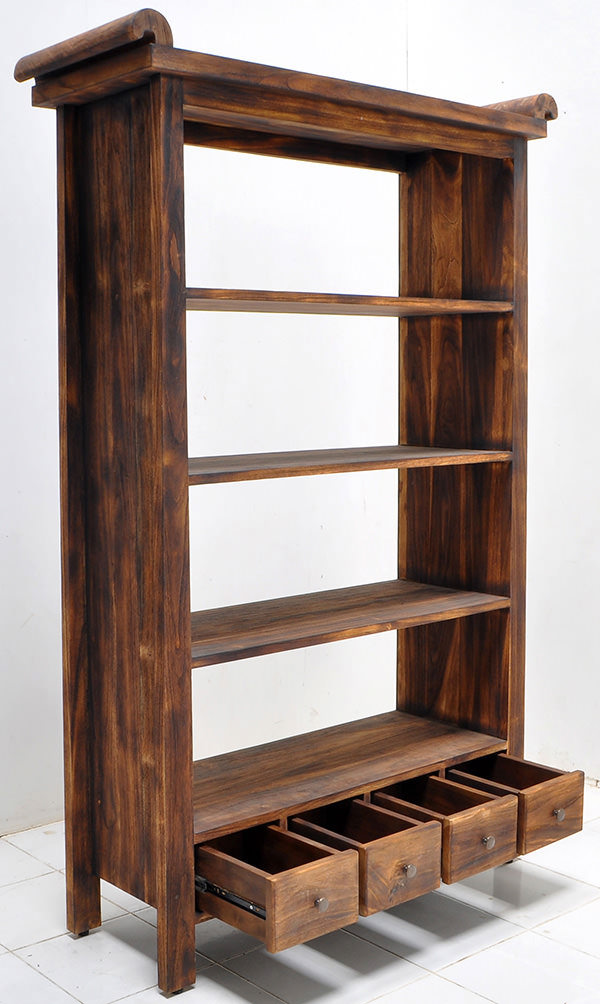teak indoor book rack with shou gi ban