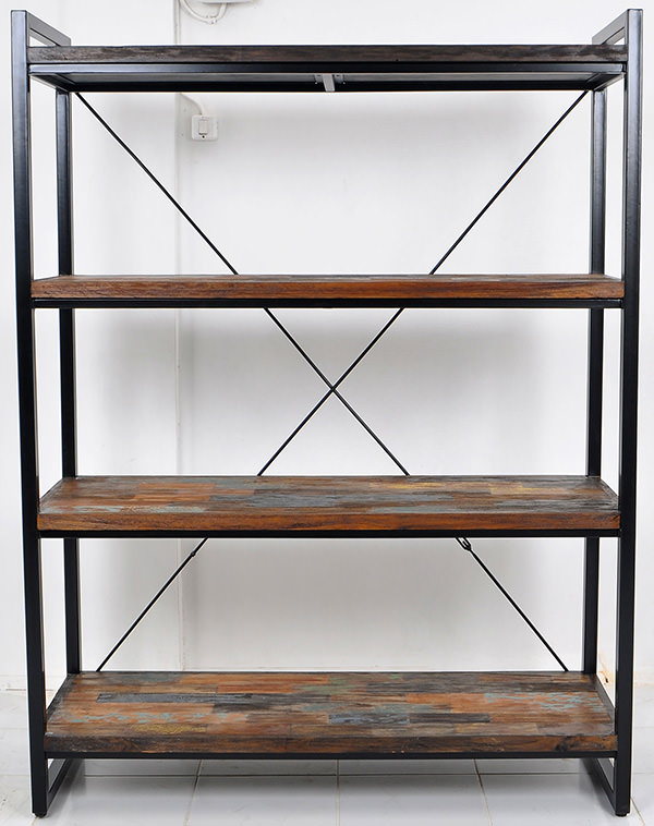 black iron and teal book rack