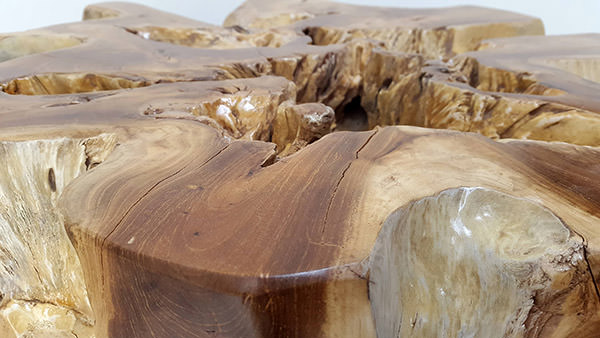 solid teak root table