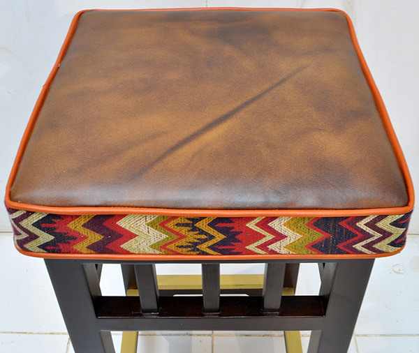 leather and fabric cushion for teak bar stool
