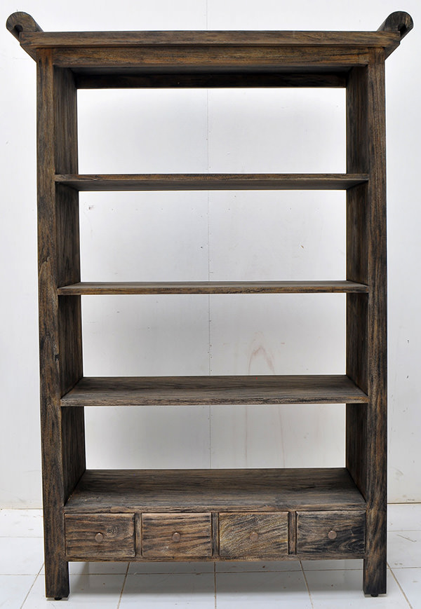 teak book rack with 4 drawers and 4 shelves