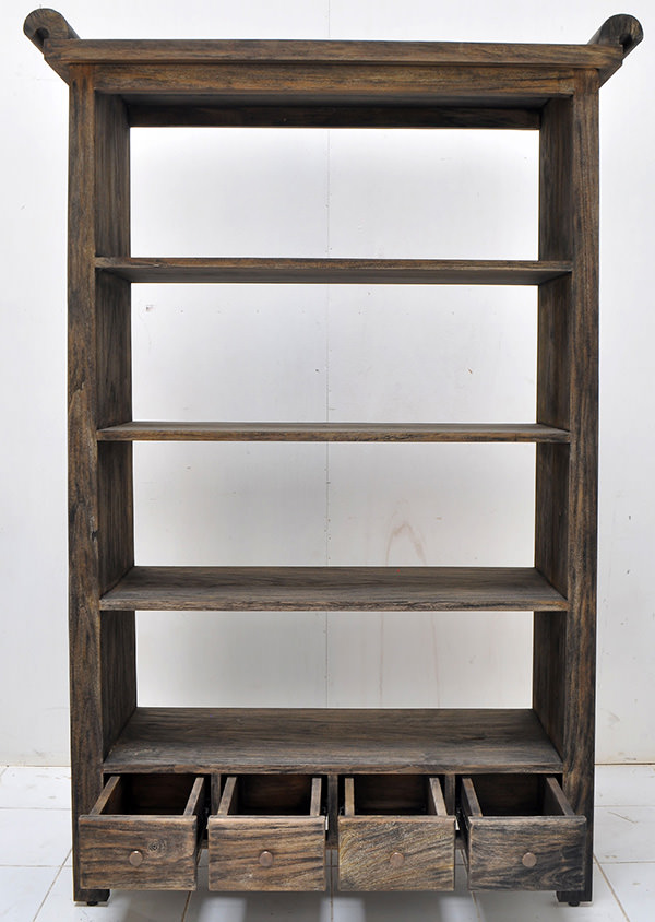 teak book rack with 4 drawers and 4 shelves with triple burnt finish