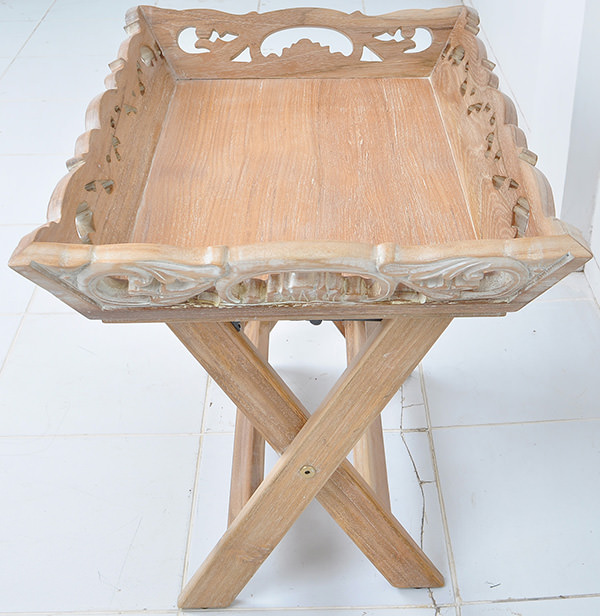 carved wooden tray with feet