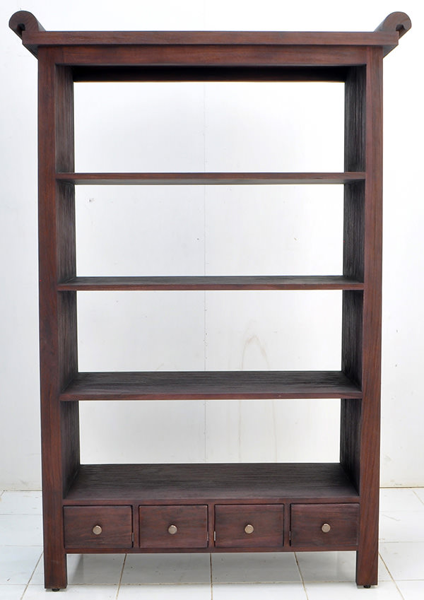 asian teak book rack with 4 drawers and 4 shelves