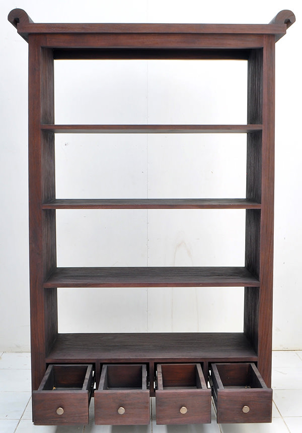indonesian teak book rack with 4 drawers and 4 shelves