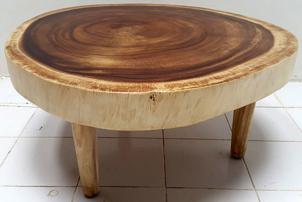 solid round rain tree table with wooden legs