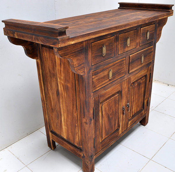 asian cabinet charred teak wood finishing