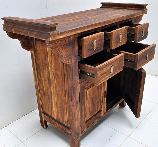 chinese cabinet charred teak wood finishing