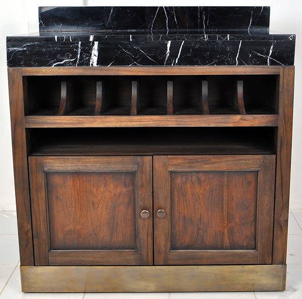 brown teak serving station with marble top and golden brass feet