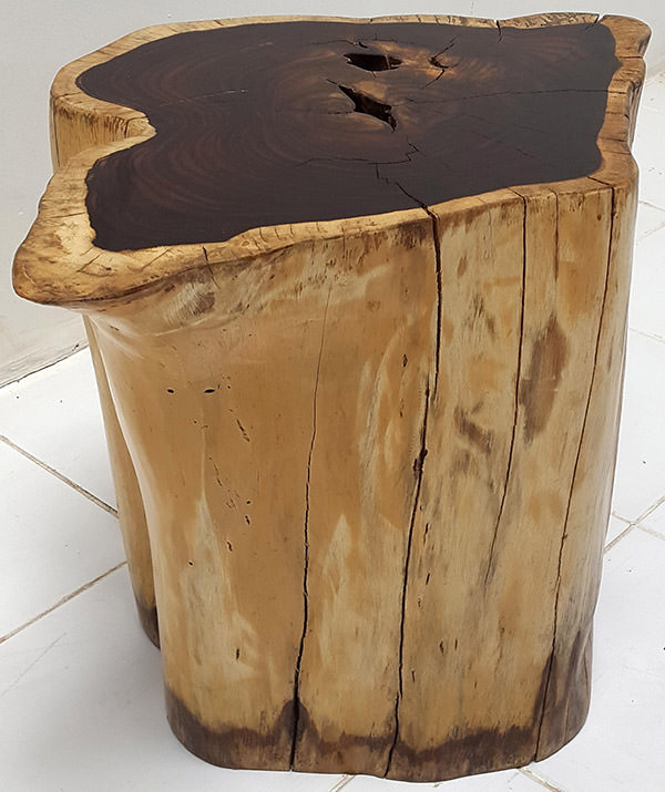 teak root solid wooden stool with natural finish