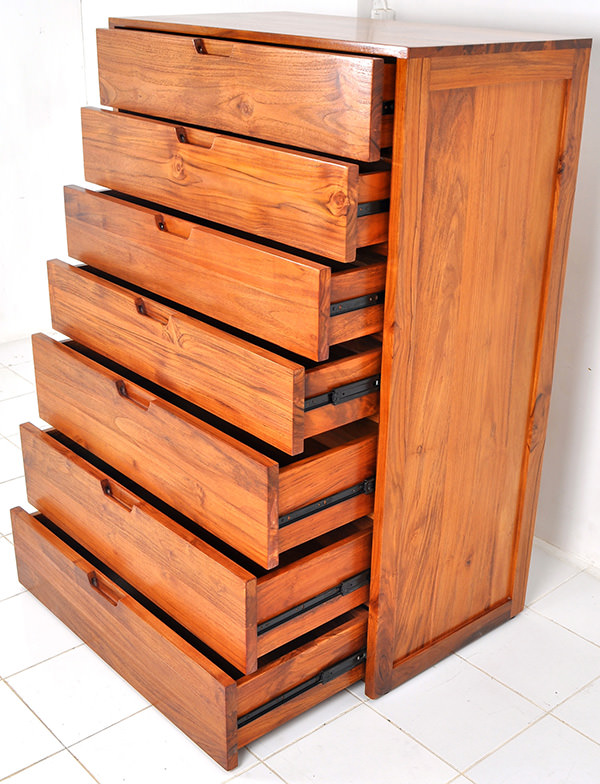 Teak dresser with seven drawers