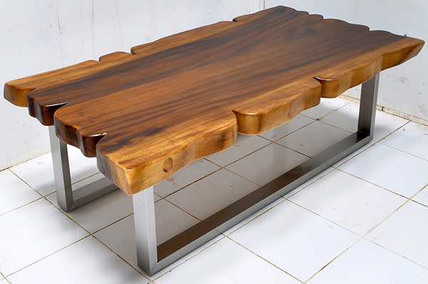 suar wood table with steel legs