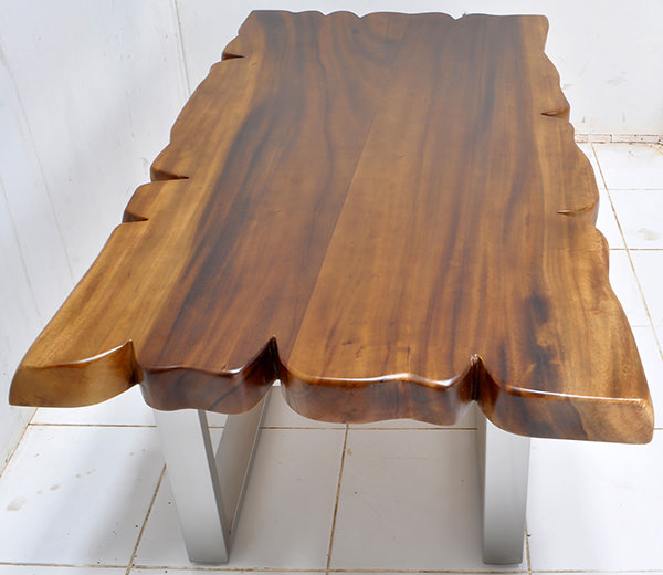 suar wood table with square pipe steel legs