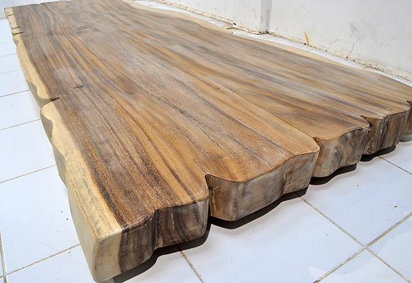 big suar slab table top with a natural matte finishing