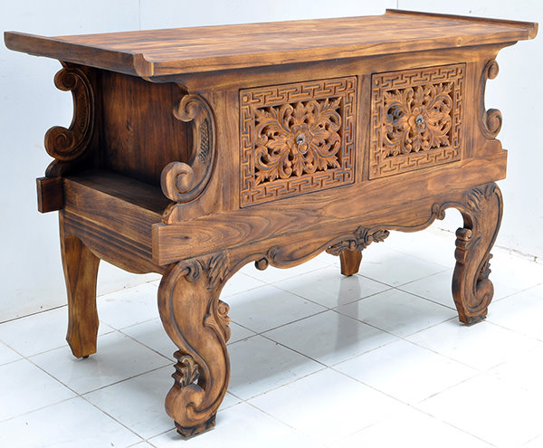 antiquing teak wood console Shou-sugi-ban finish