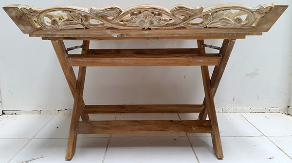 ethnic teak wooden carved tray with shite washed finish and standing feet