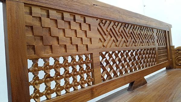 teak furniture with geometric carvings