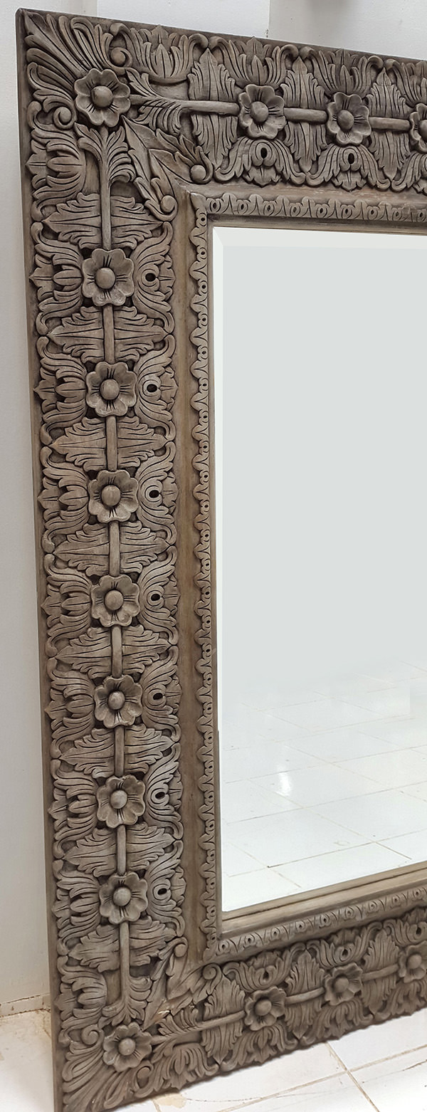 wooden teak carved mirror frame