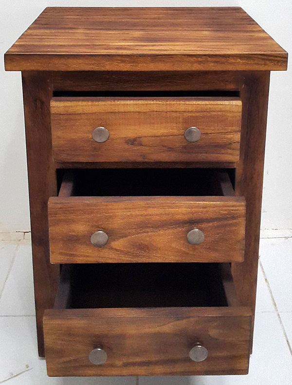 bed side teak table with tree drawers