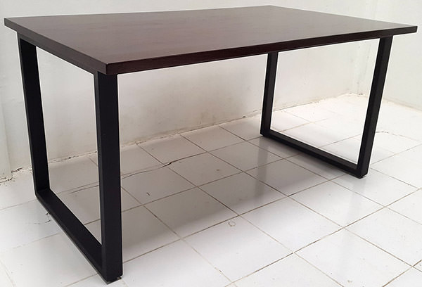 walnut console table with black iron legs