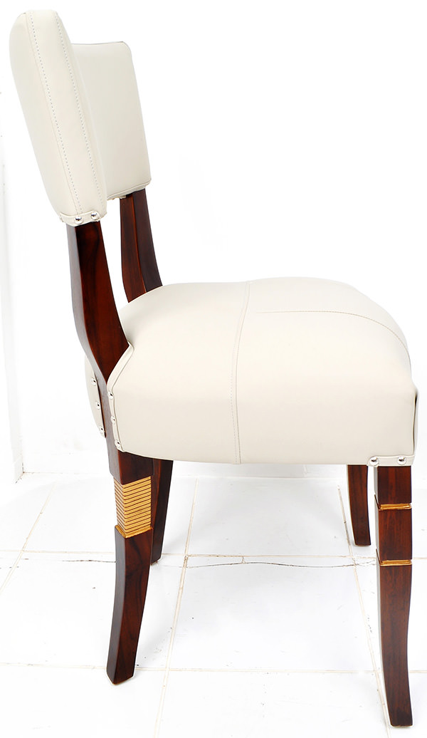 teak and white leather dining chair with brown stain