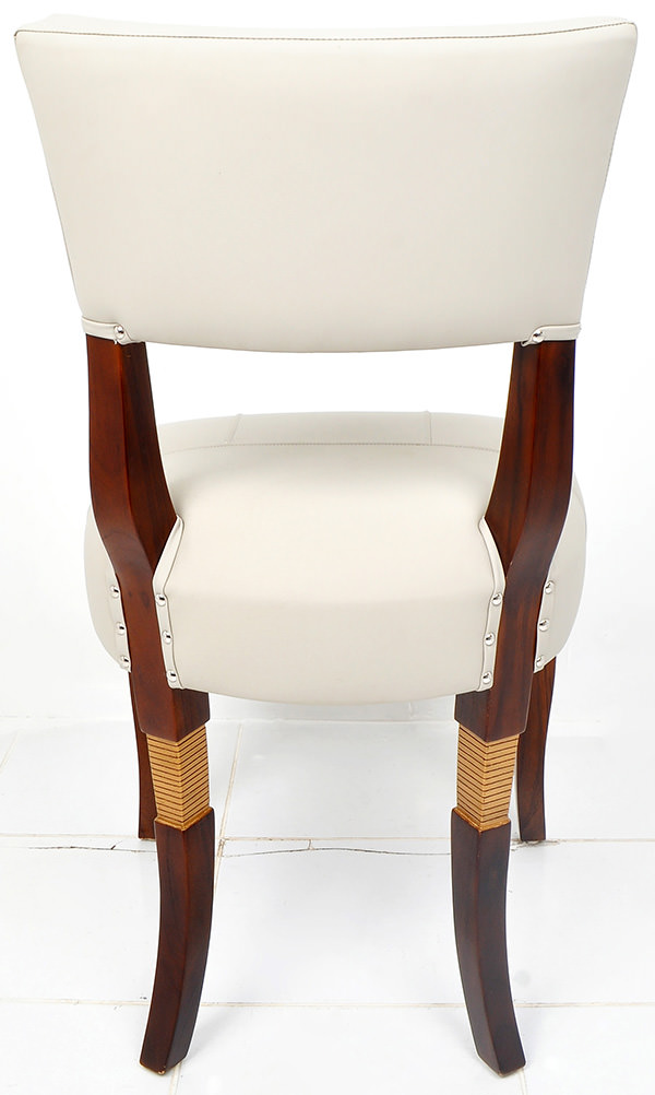 Scandinavian teak and white leather dining chair with brown stain and golden leg recessed