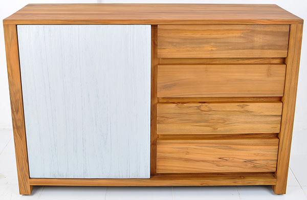 scandinavian sideboard with painted door