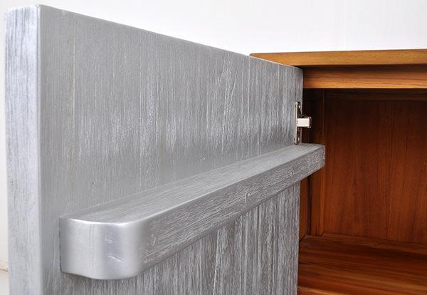 scandinavian sideboard with solid painted door in silver
