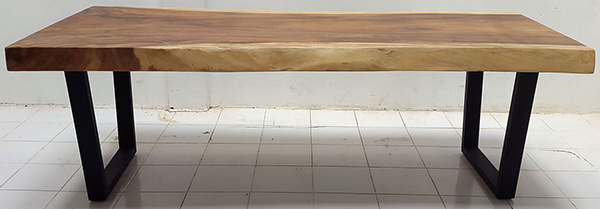 suar wood console table with natural finish