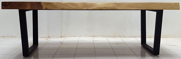suar wood console table with natural finish and iron legs