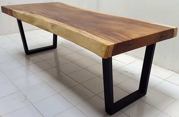 suar wood console table with natural finish and black powder coated iron legs