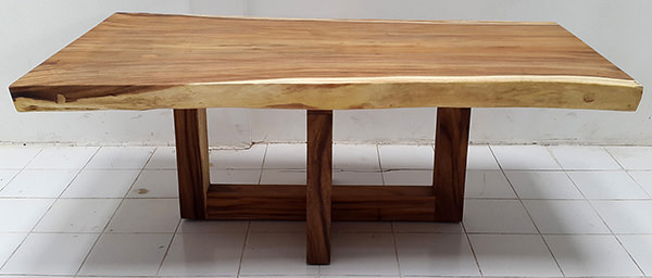 wooden dining table with crossed legs