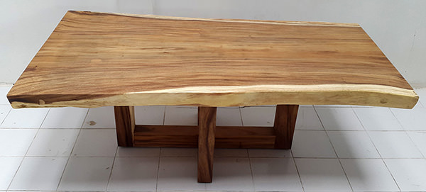 suar wooden dining table with crossed legs