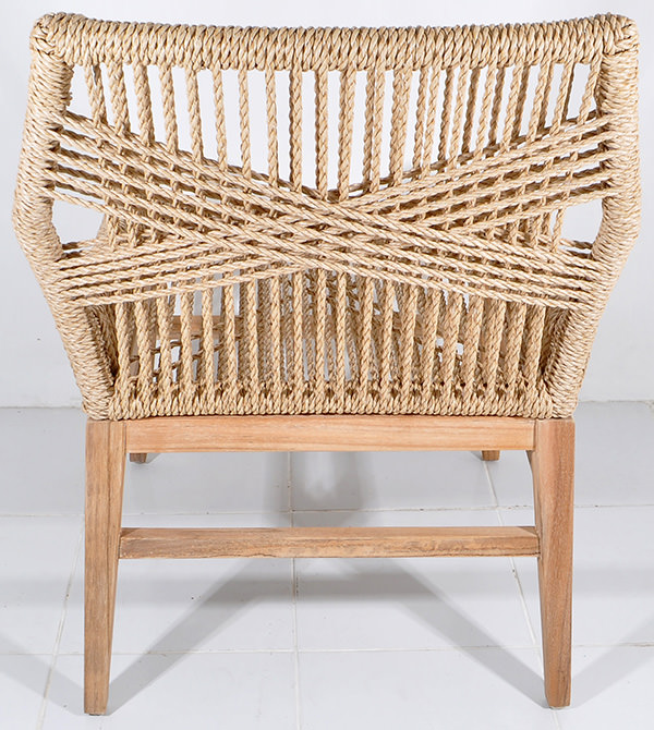 scandinavian chair with natural rattan seat weaving