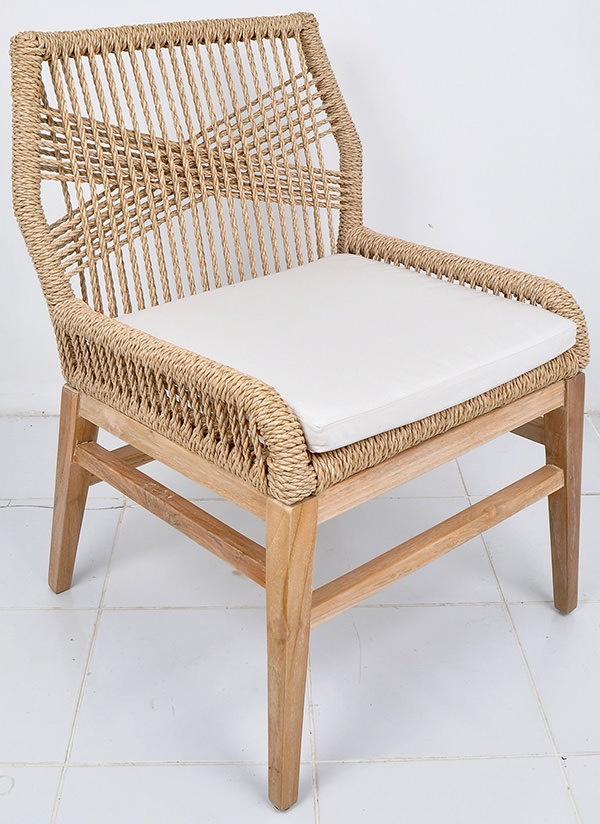 Danish garden chair with natural rope backseat
