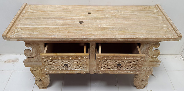 chinese wooden teak console with two drawers