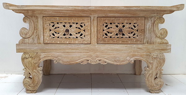 chinese wooden teak console with two handmade carved drawers