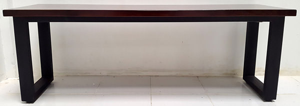 teak console table with black iron legs