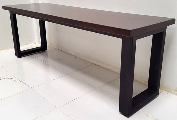 teak console table with black square iron legs