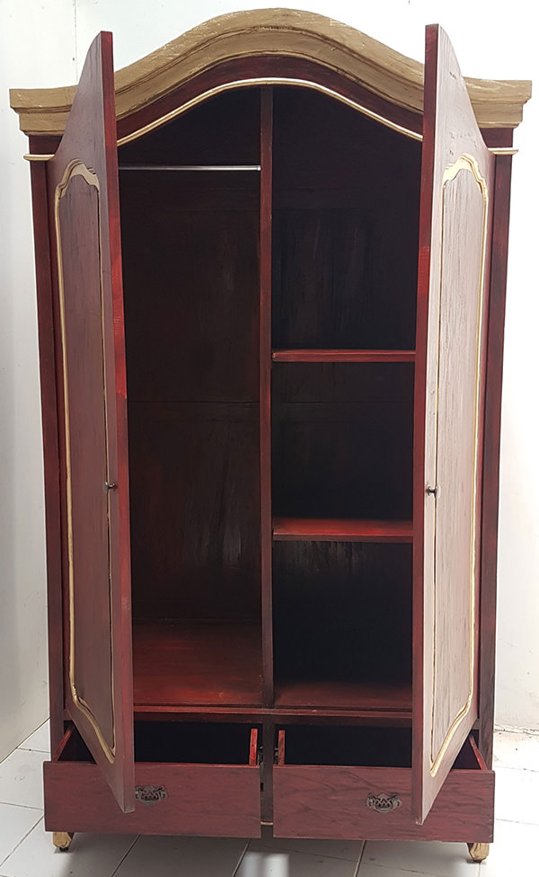 red wardrobe with vintage wood finish and two doors