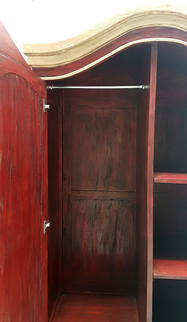 red wardrobe with vintage wood finish and two doors for restaurant