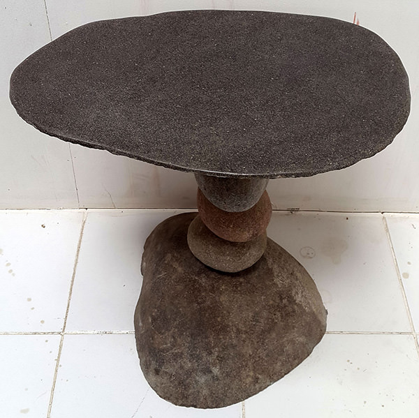 outdoor lava stone table